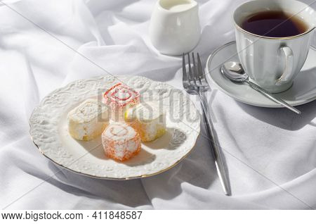 Raditional Turkish Delight With Coffee On Breackfast. Arabic Dessert Pistachios Halva And Rahat Loku