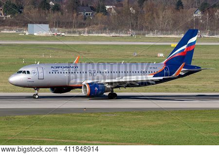 Aeroflot Russian Airlines Airbus A320-214(wl) Arriving At Dusseldorf Airport. Germany - February 7,