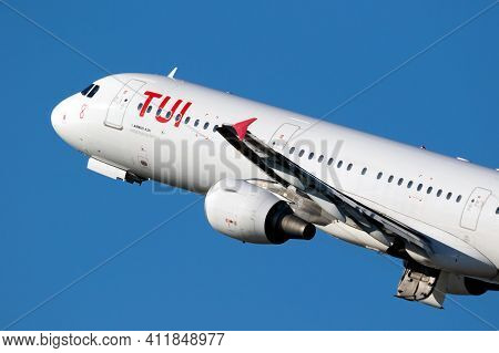 Tui Airlines Airbus A321 Passenger Plane Departing Dusseldorf Airport. Germany - February 7, 2020