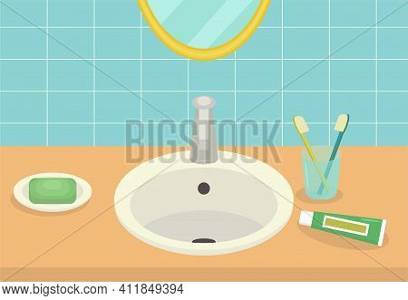 Minimalist Bathroom Interior. Washbasin With Soap, Brushes And Toothpaste, Mirror. Flat Vector Subje
