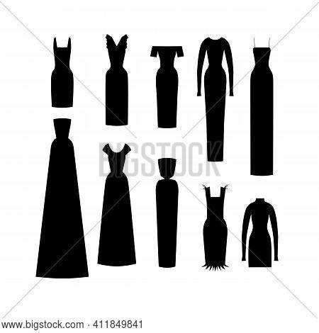 Set Little Black Dress. Isolated Flat 2d Vector.