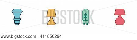Set Led Light Bulb, Table Lamp, Light Emitting Diode And Icon. Vector