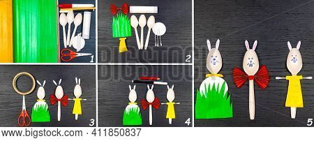 Easter Crafts With Their Own Hands, Easter Bunny Crafts Made Of Biodegradable Spoons.children's Art