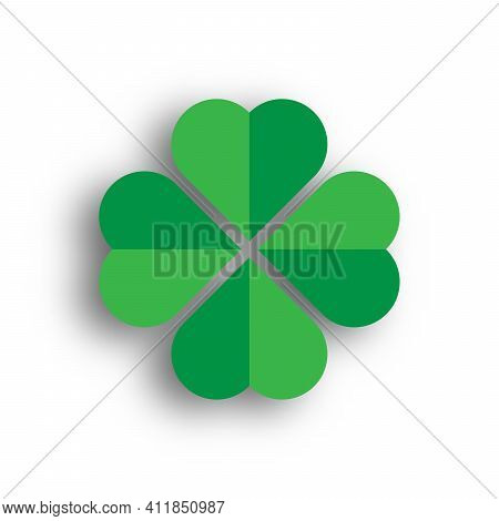 Shamrock - Green Four Leaf Clover Icon. Good Luck Theme Design Element. 3d Vector Illustration With