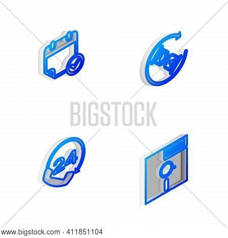 Set Isometric Line Waiting, Calendar With Check Mark, Telephone 24 Hours Support And Floppy Disk The