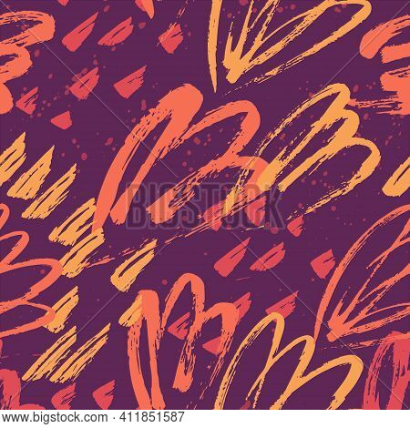 Abstract Floral Seamless Pattern. Scribble Grungy Paintbrush Scribble Background.