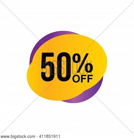 50% Sale Tag Vector Badge Template, 50% Sale Label Collection, Clearance Sale Sticker Emblem, Bargai