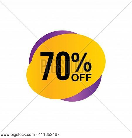 70% Sale Tag Vector Badge Template, 70% Sale Label Collection, Clearance Sale Sticker Emblem, Bargai