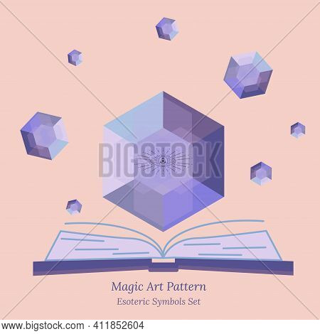Magic Crystal Template For Spiritual Session, Fortune Telling And Magic Book. Faceted Crystal Glows