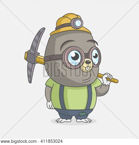 Little Cute Mole Miner Holding A Pickaxe And Smiling. Design For Print, Emblem, T-shirt, Party Decor