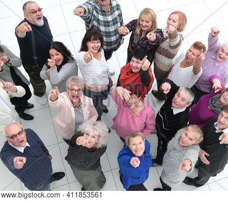 top view. group of diverse older people
