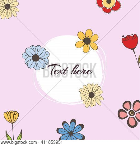 Vector Banner With Doodle Style Flowers And Place For Your Text On Pink Background. Template For Sit