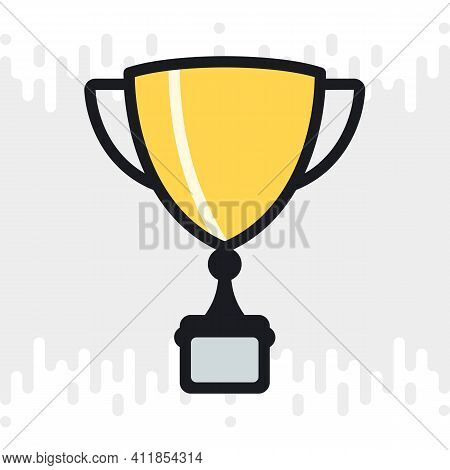 Award Cup, Winner Cup Or Champion Cup Icon. Business Success Concept. Simple Color Version On A Ligh
