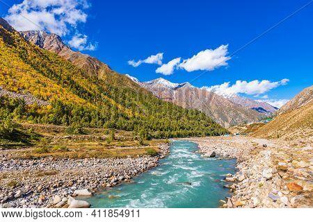 Serene Landscape Of Baspa River Valley Near Chitkul Village In Kinnaur District Of Himachal Pradesh,