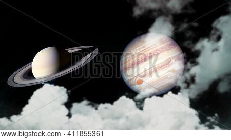 Saturn And Jupiter Back Silhouette Cloud On The Night Sky