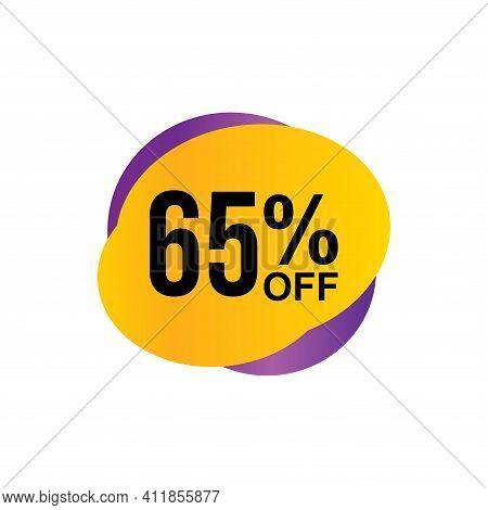 65% Sale Tag Vector Badge Template, 65% Sale Label Collection, Clearance Sale Sticker Emblem, Bargai