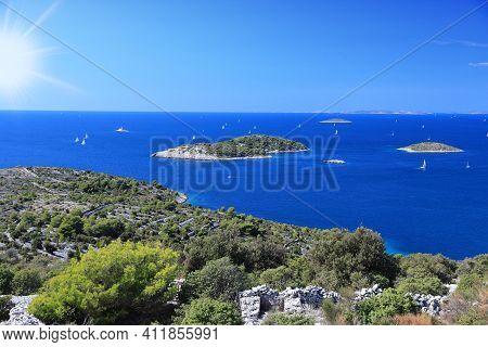 Kornati Islands In Croatia. Summer Landscape Of Croatia. Adriatic Sea.