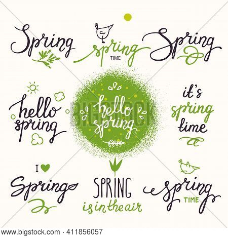 Springtime Inspirational Hand Written Lettering, Cute Spring Symbols. Modern Calligraphy, Elements F