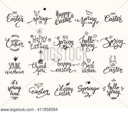 Happy Easter, Springtime Handwritten Lettering, Cute Spring Symbols. Modern Brush Calligraphy, Desig