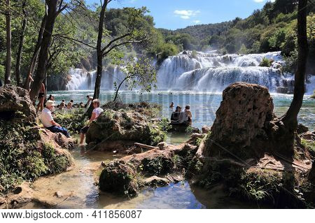 Krka, Croatia - September 15, 2012: Tourists Visit Krka National Park In Croatia. It Is 2nd Most Vis