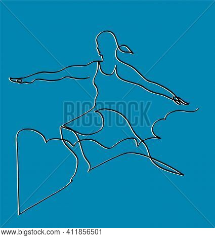One Line Drawing Of Woman Doing Yoga Warrior Pose One Continuous Line Drawing Of Sporty Young Woman