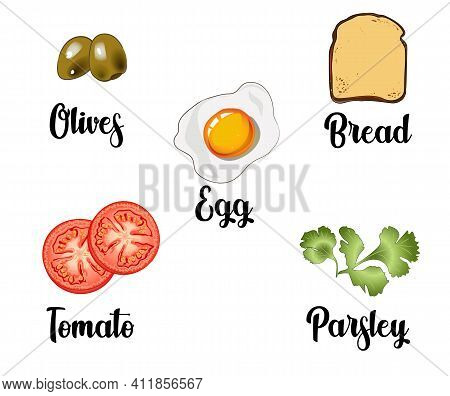 A Set Of Ingredients Consisting Of Scrambled Egg, Toast, Tomatoes, Olives And Parsley. Vector Illust