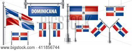 Vector Set Of The National Flag Of Dominicana In Various Creative Designs