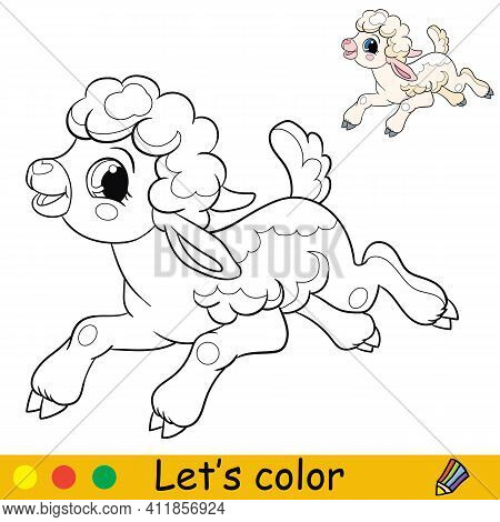 Cartoon Character Cute Funny Running Lamb. Coloring Book Page With Colorful Template. Vector Isolate