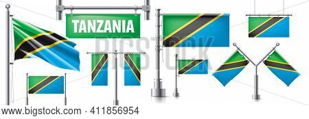 Vector Set Of The National Flag Of Tanzania In Various Creative Designs