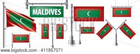 Vector Set Of The National Flag Of Maldives National In Various Creative Designs