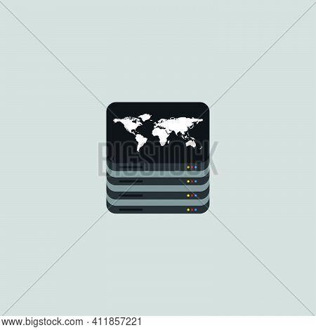 World Server Icon. Global Cloud Symbol. Low Latency Broadband Internet Sign. Logo Design Element