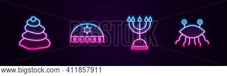 Set Line Stack Hot Stones, Jewish Kippah With Star Of David, Hanukkah Menorah And Pastafarianism. Gl