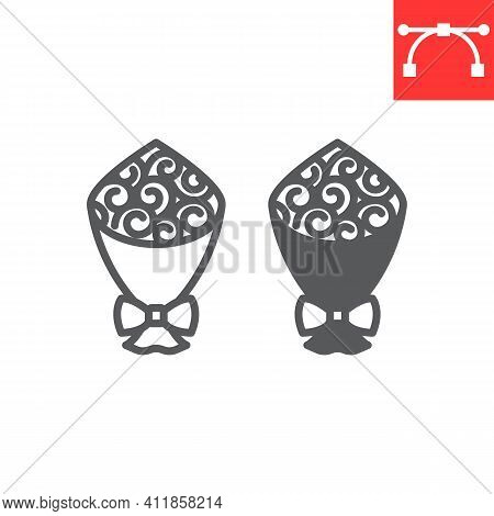 Bouquet Of Flowers Line And Glyph Icon, Gift And Floral, Bouquet Roses Vector Icon, Vector Graphics,