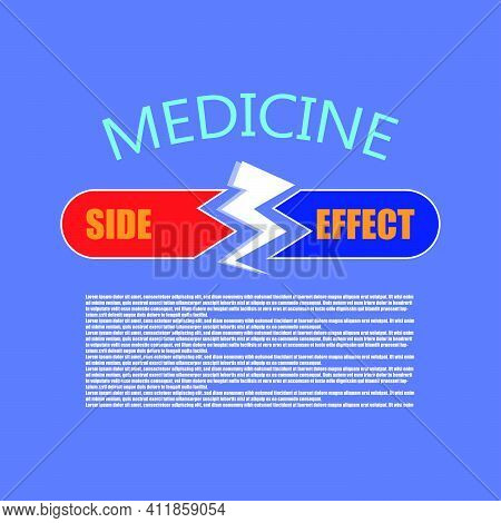 Medicine Side Effect Flat Icon. Pill Prospectus Design. Logo Design Element