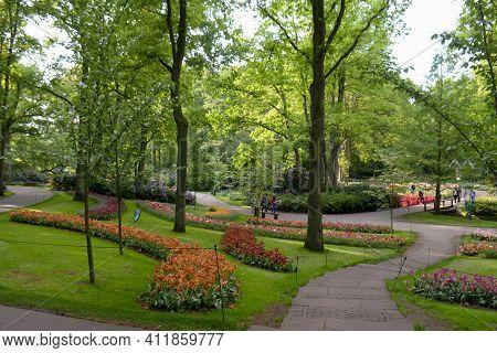 Meandering Pathways In A Beautiful Tulips Garden In Amsterdam, Netherlands.