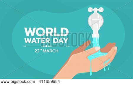 World Water Day - Hands Collecting Water From Tap Water Vector Design
