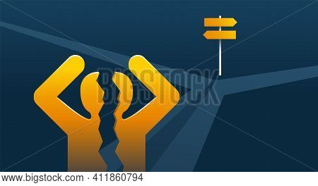 Correct Decision Chosing Problem - Confused Man Silhouette Standing On The Crossroads And Breaking A