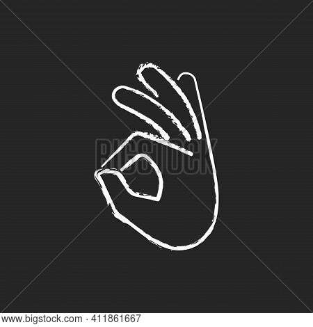 Okay Gesture Chalk White Icon On Black Background. Sign Or Ring Gesture. Perfect. Army Sign. Circle