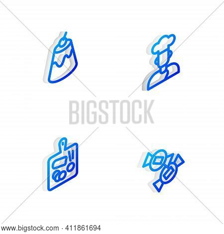 Set Isometric Line Cook, Pudding Custard, Cutting Board And Candy Icon. Vector