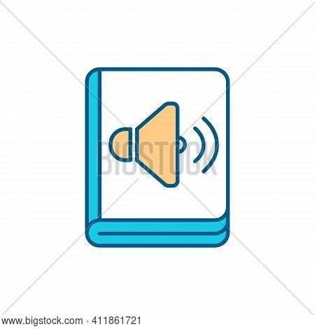 Audiobooks Rgb Color Icon. Engaging In Text. Recorded Book, Magazine Reading. Vocabulary And Compreh