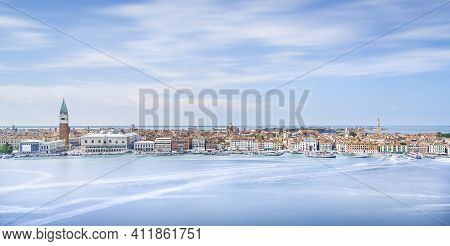 Venice Aerial View, Piazza San Marco Or St Mark Square, Campanile And Ducale Or Doge Palace And Sant
