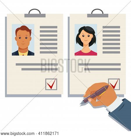 Analyzing Staff Resume Vector. Choice Of The Employer. Hr Management Or Recruitment Agency Consept I