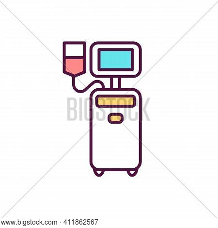 Platelet Donation Rgb Color Icon. Blood Separation In Centrifuge. Whole-blood Donation. Help For Can