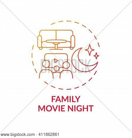Family Movie Night Concept Icon. Indoor Family Activities. Watching Interesting Films With Children.