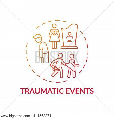 Traumatic Events Concept Icon. Online Family Comunication Therapy Types. Experiences That Put Person