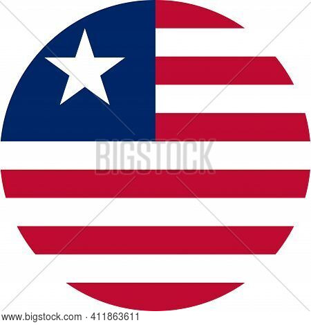 Liberia Round Flag Icon. Business Concepts And Travel Icons.