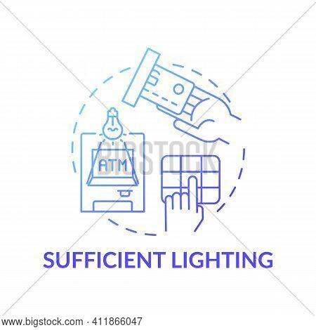 Sufficient Lighting Concept Icon. Controlling Robbery Risk Idea Thin Line Illustration. Record Findi