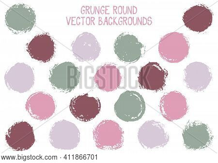 Vector Grunge Circles Design. Trendy Post Stamp Texture Circle Scratched Label Backgrounds. Circular