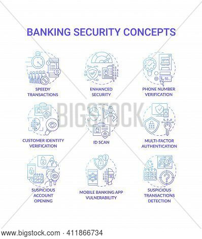 Banking Security Concept Icons Set. Reduced Administration Idea Thin Line Rgb Color Illustrations. M
