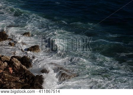 Ocean Wave Background Breaking Sea Water Rocky Shore